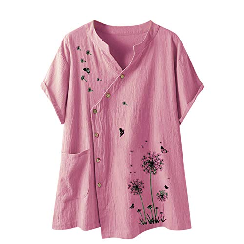 VEMOW Blusas Mujer Manga Corta Verano Lino Camisas O-Cuello Retro Botón Tops Tamaño, Elegantes Moda Estampado Camisa Jerseys Casual Suelta Sudadera Tapas Básica Informal T-Shirt(D Rosado,S)