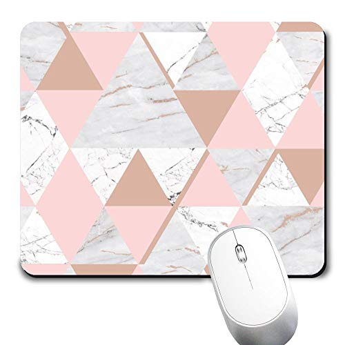 Yaxazepluy - Pink Geometric Rose Gold Marble Mouse Pad, Gaming Rectangle Mousepad for Computer Laptop Non-Slip Rubber Desk Mat,Cute Office Gift (9.5 X 7.9 Inch)