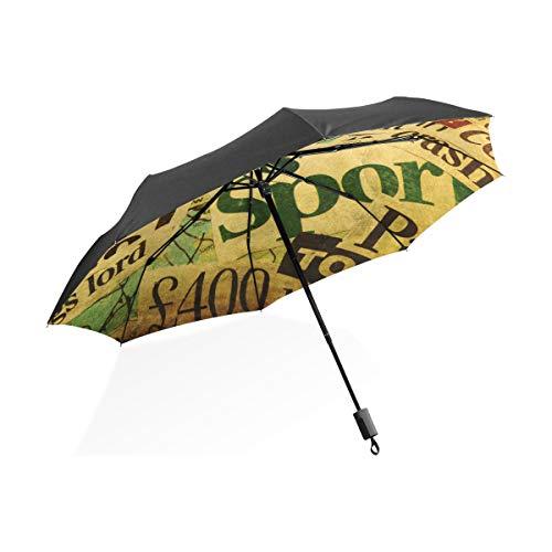 FANTAZIO Reizen Paraplu Collage Van Woorden Van Kranten Grunge Patroon Zon/Regen paraplu