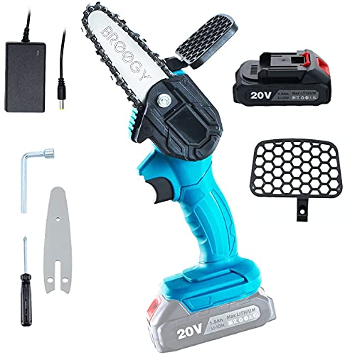 BROOGY Mini Chainsaw, Handheld Cordless Electric Chainsaw with 1Pcs Batteries and Chain, Portable Electric Chainsaw for bushes and trees (pruning of branches)