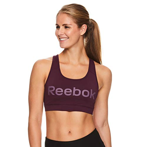 Reebok Women's Wireless Racerback Sports Bra - Medium Impact Athletic Active Fitness & Gym Bralette w/Keyhole Cutout - Original Potent Purple, X-Small