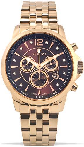 LOUIS XVI Reloj de pulsera para hombre Athos, correa de acero, oro rosa, marrón, diamantes auténticos, cronógrafo, analógico, cuarzo, acero inoxidable 966