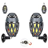 Portable Audio Tiki Torch Wall Mount Kit/Magnetic Base IP65 Waterproof NULED Flame Bluetooth Speaker w. Warm Yellow LED Flickers Atmosphere Indoor/Outdoor Table Lamp Stereo Sound Grey