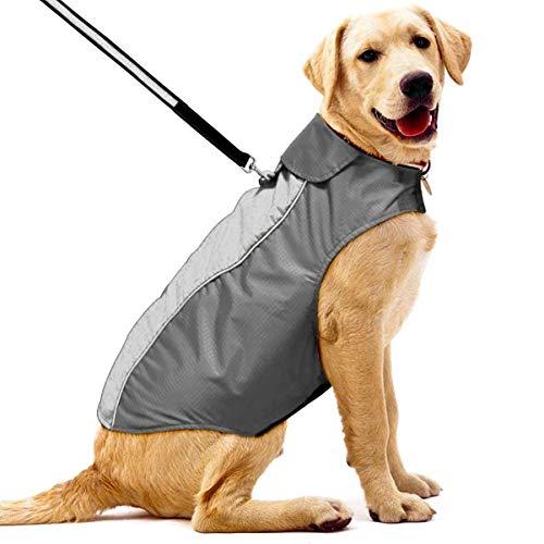 POPETPOP- wasserdichte Hundejacke Hundemantel mit D-Ringe für Kleine, Mittelgroße und Großer Hunde, die zu Fuß im Freien Jagdtraining Camping (XS, Schwarz)