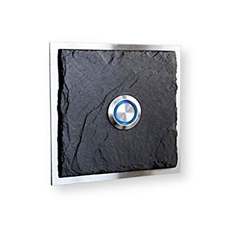 Metzler Türklingel-platte Schiefer & Edelstahl - Gravur-Service - LED beleuchteter Taster (verschiedene Farben) Unterputz-Montage