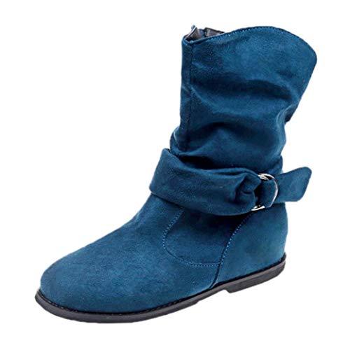 Zapatos Mujer,Estilo Vintage Mujer Plana Botines Zapatos Blandos Conjunto de pies Botines Botas Medias