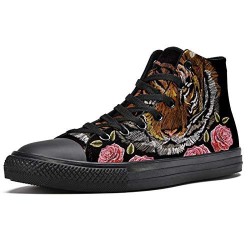 BENNIGIRY Tigre Japonés Bordado con Rosas Patrón Floral Colorido Zapatillas de Deporte de caña Alta Zapatillas Deportivas de Lona para Mujer