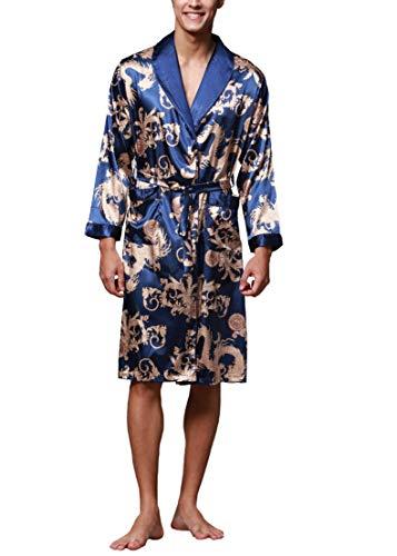 Westkun Robe de Chambre Kimono Japonais Homme Peignoir Satin Manche Longue Sortie de Bain Vêtements de Nuit Pyjama Long Yukata Cardigan Veste Manteau Haut(Bleu Marine,XXL)