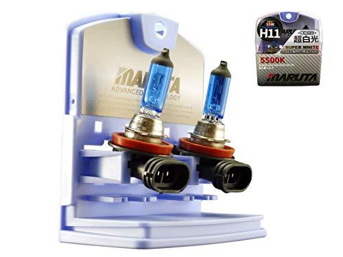 MARUTA H11 Halogen Glühlampen Set, SUPER WHITE MT-484 55W 12V, Xenon Look 5500K & E Prüfzeichen