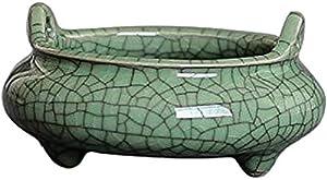 PHILOGOD Ceramic craftmanship Incense Burner Holders for Sticks, Cone, Coil Incense, 3.15 Inch and 2 Ears Censer (Green-1-black line)
