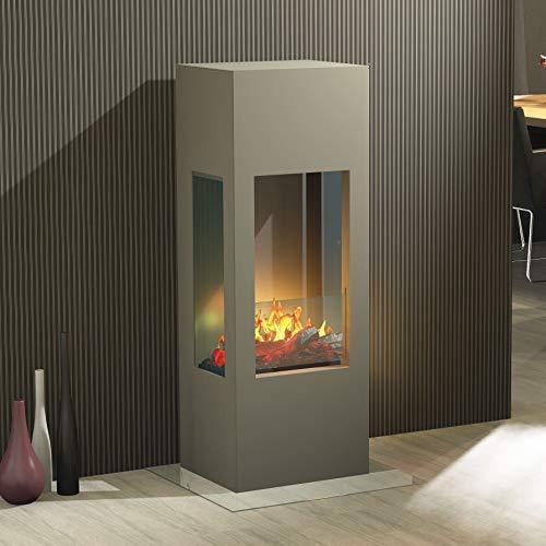 Muenkel Design Prism Fire [Elektrische open haard Opti-myst (Heat) 3-zijdig zicht]: Grijs aluminium - Met verwarming - Decoratief hout met staande rooster (gekarteld)