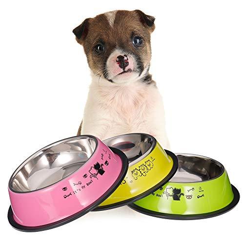 Sussurro - Set di 3 ciotole per cani e gatti, in acciaio inossidabile, con base antiscivolo e antiscivolo, 15,5 cm, colore: verde tenero + rosa + giallo