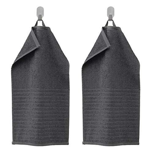 VAGSJÖN IKEA - Toallas de Invitados (30 x 50 cm, 100% algodón, 2 Unidades), Color Gris Oscuro