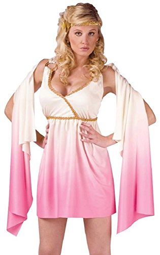 Fancy Me Disfraz de mujer sexy de la diosa griega de Venus y Toga romana Crema y rosa. 42
