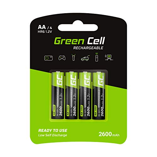 Green Cell 4X AA 2600mAh 1.2V Juego de 4 Pilas Recargables AA Ni-MH Baja Autodescarga Precarga Alta Capacidad HR6 BK-3MCCE/8BE