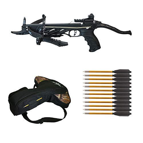 Southland Archery Supply 80 Pound Self-Cocking Pistol Crossbow (Pistol Crossbow with Grip + 15 Arrows and Bag)