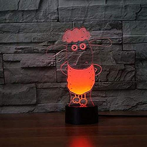 Lámpara de mesa 3D con diseño de ovejas, 7 colores, cambio visual acrílico, luz nocturna, LED, diseño animado, para niños, regalo para decoración en casa