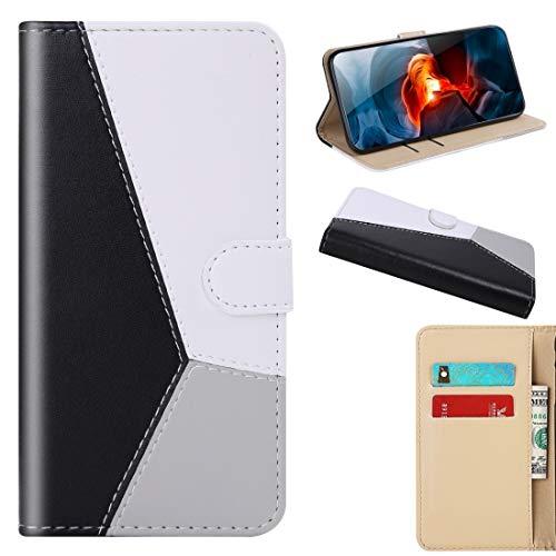 Byr883onJa Funda protectora para Huawei P Smart 2020 Tricolor Costura Horizontal Flip TPU + PU Funda de cuero con soporte y ranuras para tarjetas y cartera de teléfono (color negro)