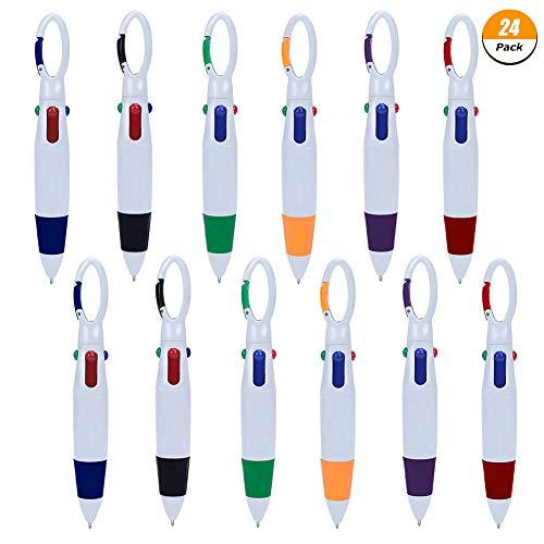 FANTESI 4-in-1-Kugelschreiber mit mehreren einziehbaren Minen, mit Karabinerhaken oben, für Büro oder Schule, 24Stück