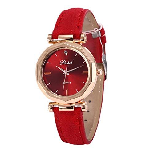 Dorical Damen Luxury Uhr Analog Quarz mit Armband,Crystal Wristwatch(Rot,One size)