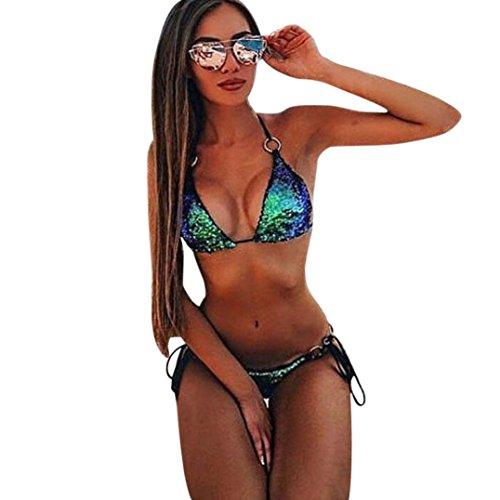 Sonnena Lentejuelas Bikini de Mujer de Dos Piezas, Traje de Baño Sexy de Playa con Cintura Alta y Traje de Baño Push-up con Sujetador Acolchado