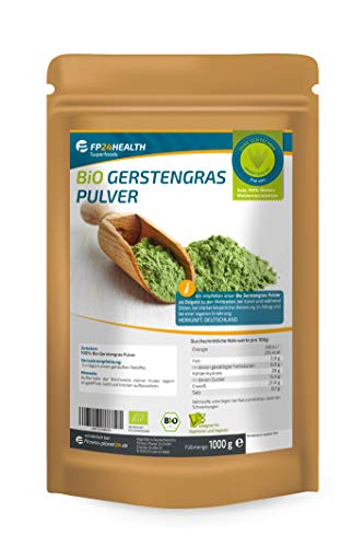 FP24 Health Bio Gerstengras Pulver 1000g - Rückstandskontrolliert - 1kg Gerstengraspulver aus Bayern im Zippbeutel - Top Qualität