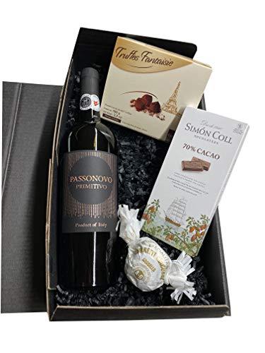 Geschenkset Rotwein mit Schokoladentrüffeln und dunkler Schokolade