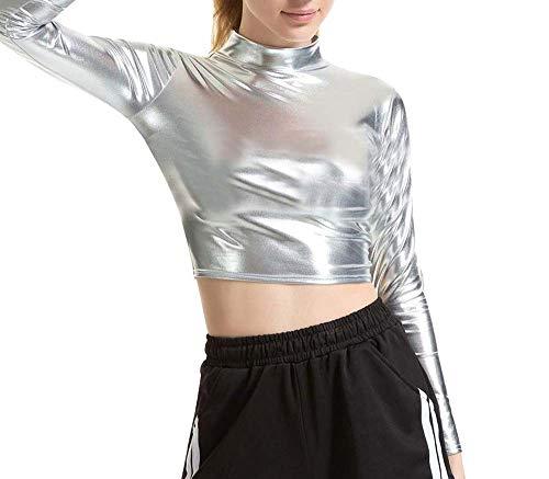 Colore : Argento , Dimensione : M Giacca da club riflettente da donna Le cime dei pantaloni sportivi e i pantaloni sportivi per il tempo libero delle donne brillano di notte abiti da ballo hip hop