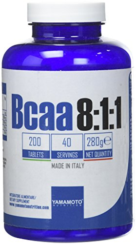 Yamamoto Nutrition Bcaa 8:1:1 integratore alimentare di aminoacidi a catena ramificata con vitamine B1 e B6 200 compresse
