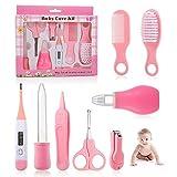 Set Para Cuidado Del Bebé, Comius Sharp 8 Piezas Bebé Kit de Cuidado Diario, Conveniente Bebé Kit de Aseo Nail Clipper Tijeras Cepillo de Pelo Peine Manicura (Pink)