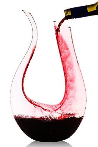 Decantador Jarra de cristal,Decantador de Vino Cristal,Aireador de Rojo Vino,Handmade Aireador de Vino,1200ml