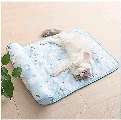 VTAMIN Pet Kühlkissenkatze Katze EIS-EIS-Pad, Haustiermatte, Sommer kalt, um Wärme, Hundekühlkisseneis-Eisnest, Hundekühlung Artefakt, Wasserkissen Sleeping Pad (Farbe: Rosa, Größe: 60cm x 40cm)
