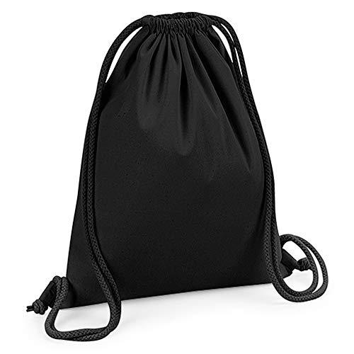 Westford Mill - Mochila saco o de cuerdas de algodón orgánico premium (Tamaño Único) (Negro)
