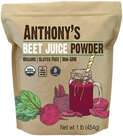 Anthony s Organic Beet Root Juice Powder 1 lb Gluten Free Non GMO Vegan Friendly product image