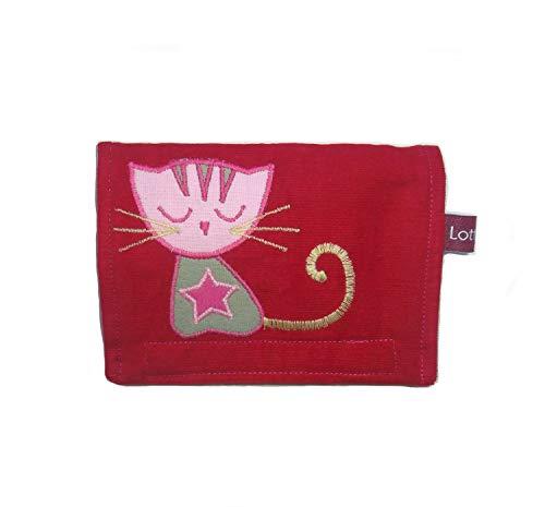 Geldbörse Geldtasche Portemonnaie für Kinder mit Katzenmotiv Maße ca. 14 x 10 cm (B/H) Baumwolle Klettverschluss
