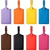 8 Pieces PU Leather Luggage Bag Case Tags PU Leather Name ID Labels Privacy Luggage Labels for Travel Bag Suitcase (Yellow, Pink, Blue, Brown, Purple, Watermelon Red, Orange, Black)