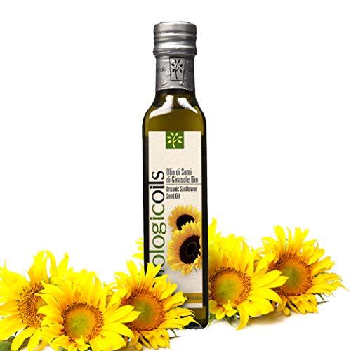 CiboCrudo Olio di Semi di Girasole Biologico, Spremuto a Freddo, Fonte di Omega 6, Acido Linoleico e Vitamina E, Per Condire Insalate, Preparare Dolci o Friggere – 250 ml