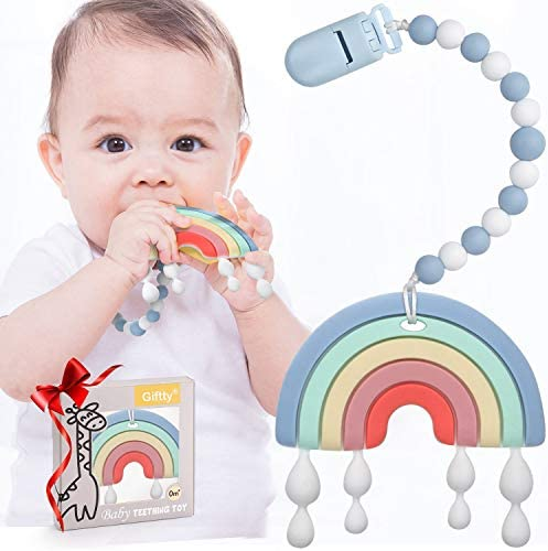 Baby Teether Teething Rainbow Toys for Babies BPA Free Infant Toy for 0 24 Months Baby Boys product image