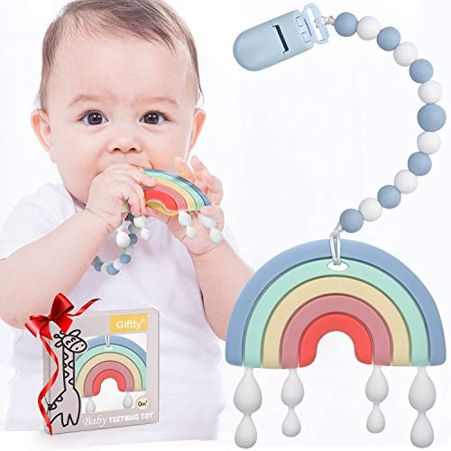 Baby Teether Teething Rainbow Toys for Babies BPAFree Infant Toy for 024 Months Baby Boys amp Girls Blue