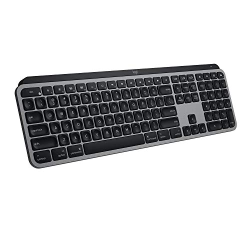 Logitech MX Keys Advanced Wireless Illuminated Keyboard for Mac, Tactile Responsive Typing, Backlit LED Keys, Bluetooth, USB-C, 10 Day Battery, Apple macOS, Metal Build - Grey