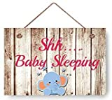 NAjinzhanwen1 Neuheit Shhh Baby schlafen Elefant Holz Zeichen für Babyzimmer Holztür Zeichen Wandtafel Baby Shower Dekor