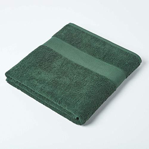 HOMESCAPES Toalla de baño de algodón turco, color verde oscuro, muy suave y absorbente, 500 g/m², peso pesado para el lujo diario ⭐