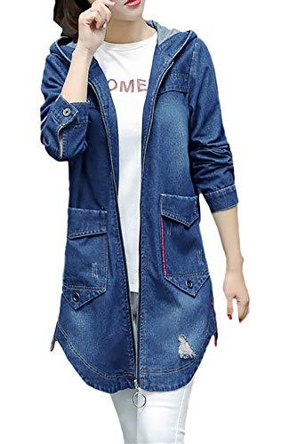 HX fashion Spijkerjack Dames Vintage Mode Spijkerjas Capuchon Lange Mouw Gescheurde Gaten Losse Casual Spijkerjasjes Bovenkleding Lente Herfst (Color : Blue, Size : L)