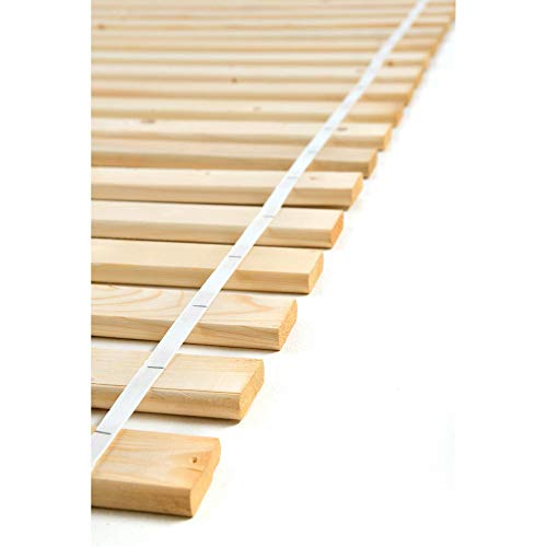 acerto 10104 Rollrost mit 20 Holzlatten – Lattenrost aus naturbelassenem, massivem Kiefernholz für Allergiker geeignet (140 x 200 cm)
