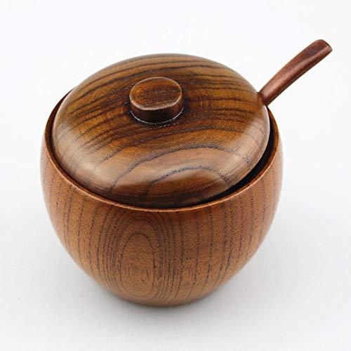 EPAWSWENLONG Legno stagionatura può Sugar BowlCoperchio Cucchiaio di Legno Spice BoxVintage
