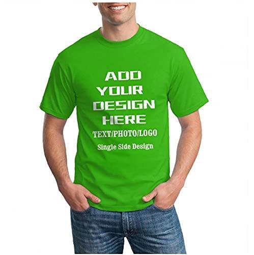 Camiseta Personalizada Con Cuello Redondo Para Hombre, Diseño Personalizado, Añade Tu Foto, Imagen, Texto, Camiseta De Algodón, Camiseta Personalizada, Estampado Frontal, Novedad, Regalo Verde XL