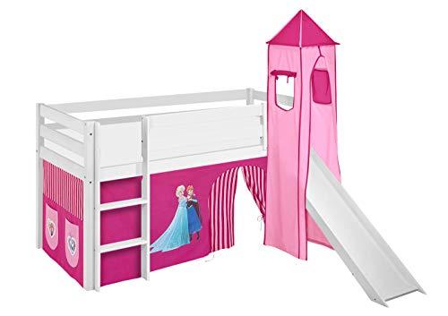 Lilokids Spielbett Jelle Eiskönigin, Hochbett mit Turm, Rutsche und Vorhang Kinderbett, Holz, rosa, 198 x 98 x 113 cm