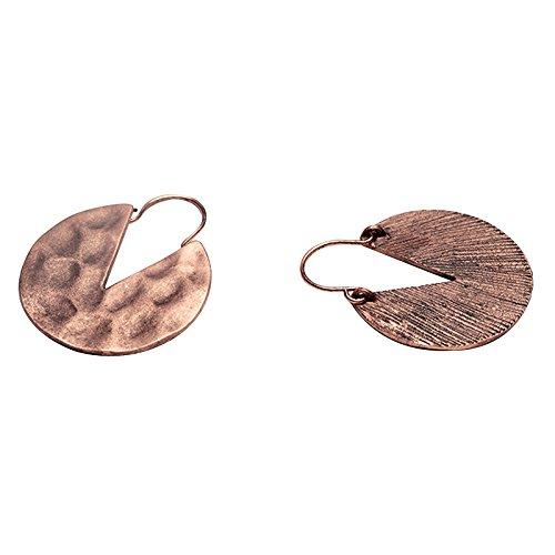 SODIAL Aretes de gota geometricos simples Joya tribual lineal boho unico de mujer aros colgantes redondo retro (Color de cobre)