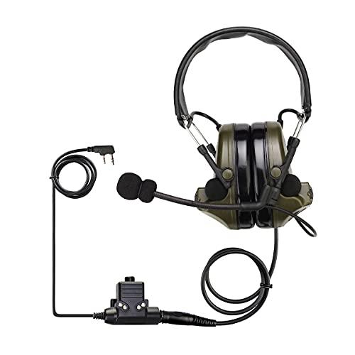 Retevis EHK007 Auriculares Tácticos, Reducción de Ruido de 28db, Pastilla Electrónica, Auriculares que Protegen la Audición para...