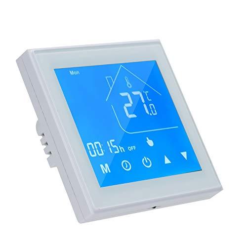 OWSOO Termostato WiFi para caldera inteligente, regulador de temperatura pantalla LCD, semana programable para caldera de agua/gas, control de aplicación Tuya compatible con Alexa Google Home